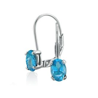 1.20ct Oval Blue Topaz Solitaire Leverback Earrings in 14k White Gold