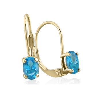 1.20ct Oval Blue Topaz Solitaire Leverback Earrings in 14k Yellow Gold