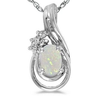 1/4ct Oval Opal And Diamond Teardrop Pendant in 14k White Gold