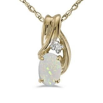 1/4ct Oval Opal And Diamond Pendant in Twisted 14k Yellow Gold