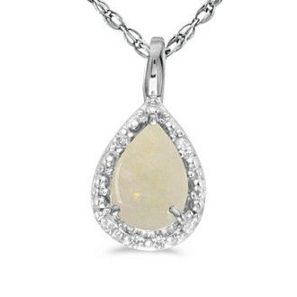 1/3ct Pear Opal Pendant in 14k White Gold