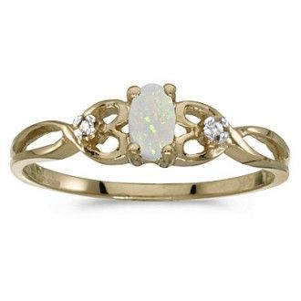 1/6ct Weaving Oval Opal And Diamond Ring in 10k Yellow Gold