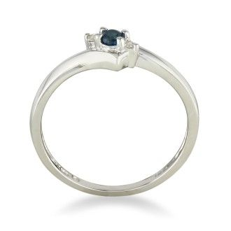 Dainty Bypass Sapphire and Diamond Ring in 10k White Gold