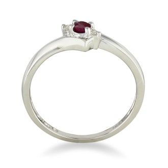 Dainty Bypass Ruby and Diamond Ring in 10k White Gold