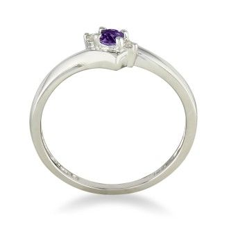 Dainty Bypass Amethyst and Diamond Ring in 10k White Gold
