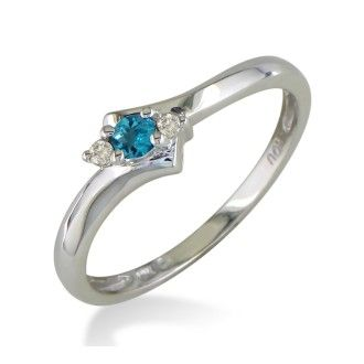 Dainty Bypass Blue Topaz and Diamond Ring in 10k White Gold