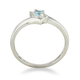 Dainty Bypass Aquamarine and Diamond Ring in 10k White Gold