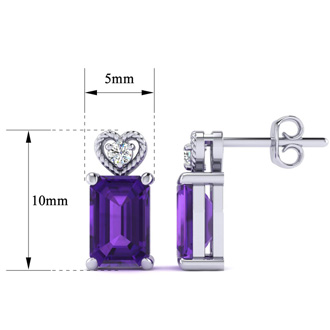 1ct Octagon Shape Amethyst and Diamond Earrings in 10k White Gold