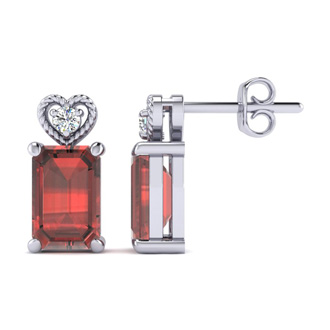 1ct Octagon Shape Garnet and Diamond Earrings in 10k White Gold