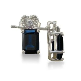 1ct Sapphire and Diamond Earrings in 10k White Gold