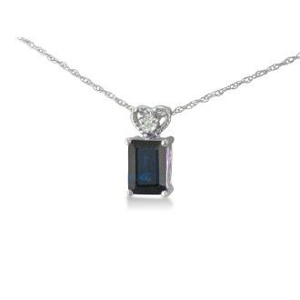 1ct Sapphire and Diamond Pendant in 10k White Gold