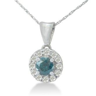 3/4ct White and Blue Diamond Halo Pendant in 14k White Gold