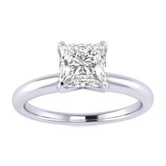 3/4 Carat Princess Diamond Solitaire Engagement Ring In 14K White Gold