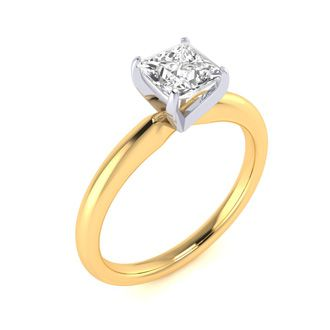 3/4 Carat Princess Diamond Solitaire Engagement Ring In 14K Yellow Gold