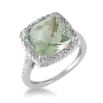 4ct Green Amethyst and Diamond Ring in Sterling Silver