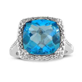 4ct Blue Topaz and Diamond Ring, Sterling Silver