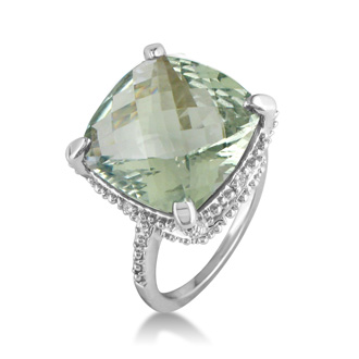 11ct Green Amethyst and Diamond Ring, Sterling Silver Size 4, 4.5 Only