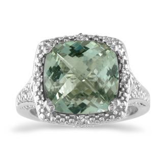 4ct Green Amethyst and Diamond Ring, Sterling Silver