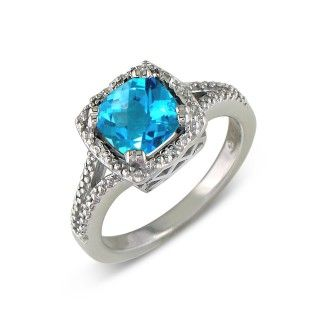2ct Blue Topaz and Diamond Ring, Sterling Silver