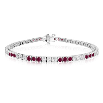 Fine quality 4.86ct Ruby and Diamond Bracelet in 14k White Gold