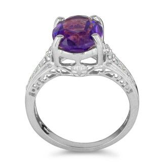 4ct Amethyst and Diamond Ring in 10k White Gold