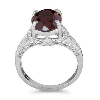 4ct Garnet and Diamond Ring in 10k White Gold