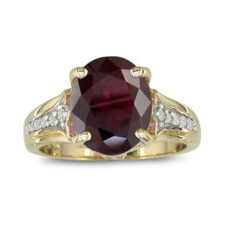 4ct Garnet and Diamond Ring in 10k Yellow Gold