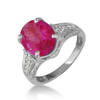 4ct Ruby and Diamond Ring in 10k White Gold
