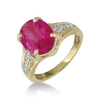 4ct Ruby and Diamond Ring in 10k Yellow Gold