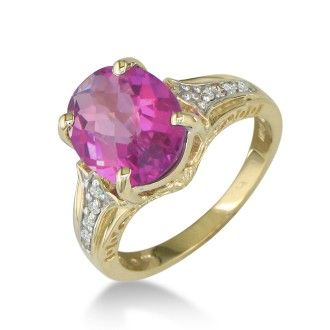 4ct Pink Topaz and Diamond Ring in 10k Yellow Gold