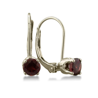 1/2ct Solitaire Garnet Leverback Earrings, 14k White Gold