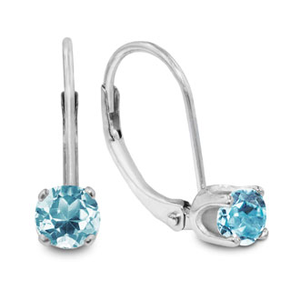 1/2ct Solitaire Aquamarine Leverback Earrings, 14k White Gold