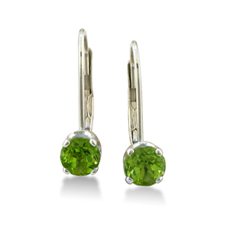 1/2ct Solitaire Peridot Leverback Earrings, 14k White Gold