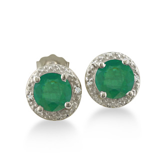 2ct Emerald Diamond Halo Earrings, 10k White Gold