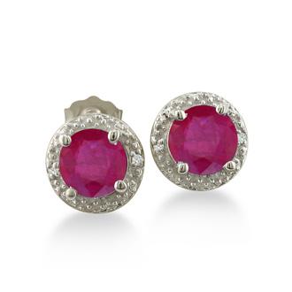 2ct Ruby Diamond Halo Earrings, 10k White Gold