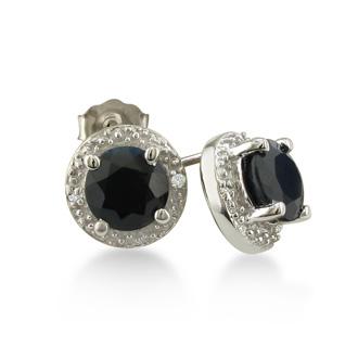 2ct Sapphire Diamond Halo Earrings, 10k White Gold