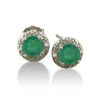 1ct Emerald Diamond Earrings, 10k White Gold