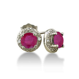1ct Ruby Diamond Earrings, 10k White Gold