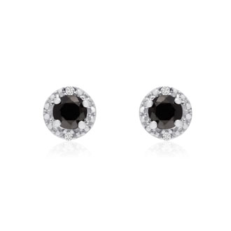 1/2ct Black and White Diamond Earrings, 10k White Gold