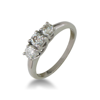 1/2ct Three Diamond Engagement Ring. Raw, Natural Diamond.  No Sparkle