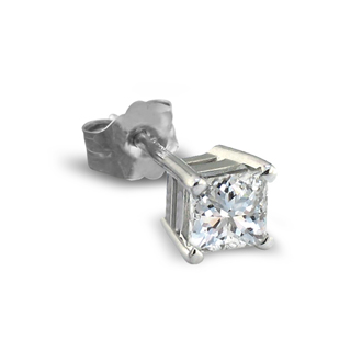 1/2ct Princess Cut Single Diamond Stud Earring in 14k White Gold