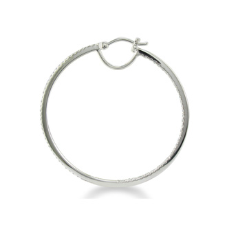 1/2ct Diamond Inside-Out Hoop Earrings, Sterling Silver, 1 3/4 Inches
