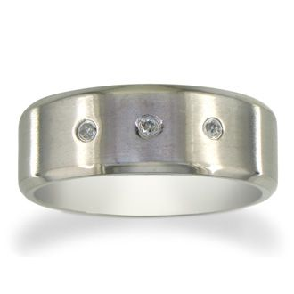 Titanium Wedding Band With 3 Nice Diamonds, Size 7.5 to 14