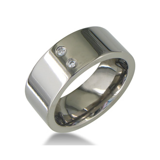 Modern Titanium Wedding Band With 2 Diamonds, Size 7.5 to 14