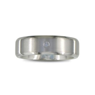 Modern Titanium Wedding Band With 1 Diamond, Size 7.5 to 14
