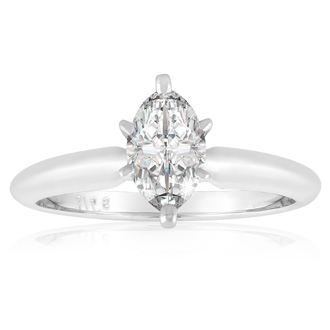 3/4ct Marquise Diamond Engagement Ring, White Gold
