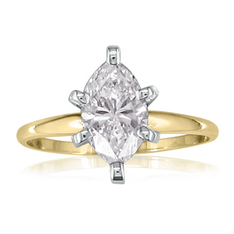 1ct Marquise Diamond Engagement Ring, Yellow Gold, Available in 1/4,1/3,1/2 and 3/4ct