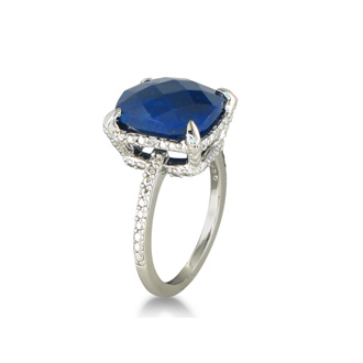 7ct Rough Cut  Natural Sapphire Diamond Ring in Sterling Silver