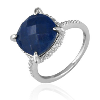 7 1/2ct Rough Cut Sapphire and Diamond Ring in Sterling Silver