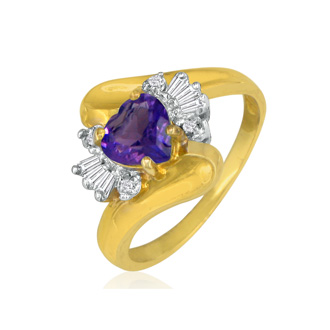 Heart Shaped Amethyst and Diamond Ring in 10k Yellow Gold